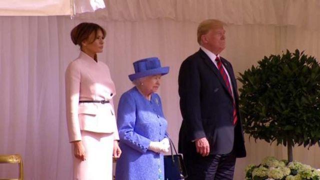 Мелания Трамп, королева Елизавета II и Дональд Трамп