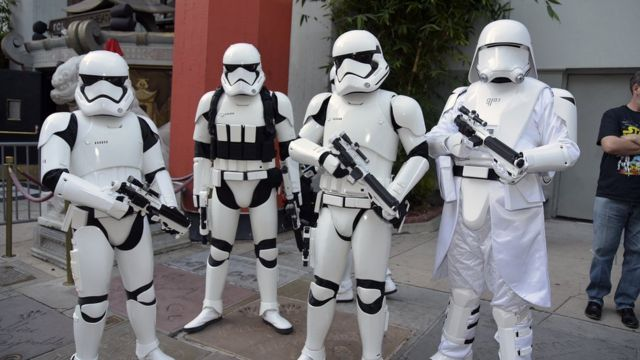 Stormtroopers pose at the opening of The Rise of Skywalker on 19 December in California