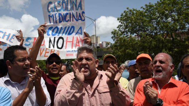 Una protesta contra la escasez en Venezuela