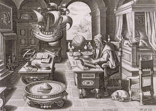 Ilustración de mediados del siglo XVII con Colón con cartas de navegación y mapas. Theodorus Galle