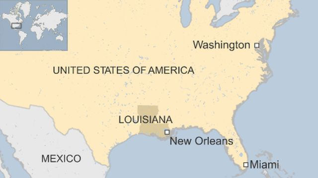 A map showing where New Orleans lies in the US