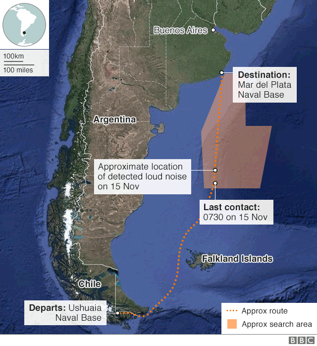 map of Argentina showing offshore location of last contact with submarine
