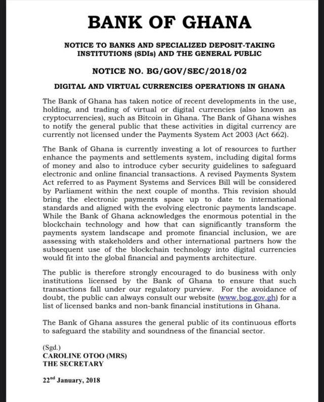 Bank of Ghana on cryptocurrency