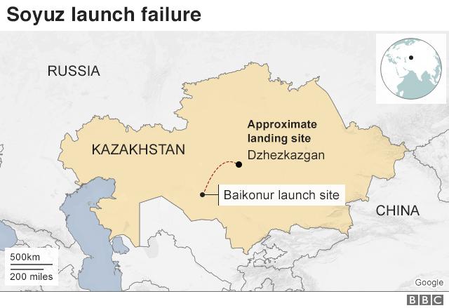 Map: Kazakhstan launch site