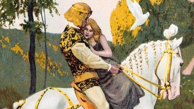 Ilustração mostra príncipe e uma mulher sobre um cavalo