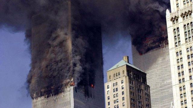 Ataque a las torres gemelas en Nueva York el 11 de septiembre de 2001.