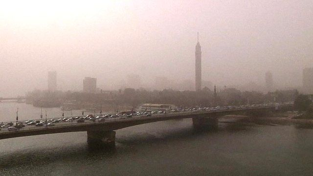 Cairo bridge during a sandstorm