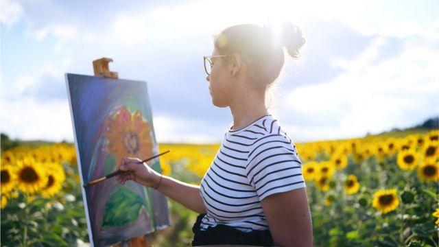 pintando girasoles