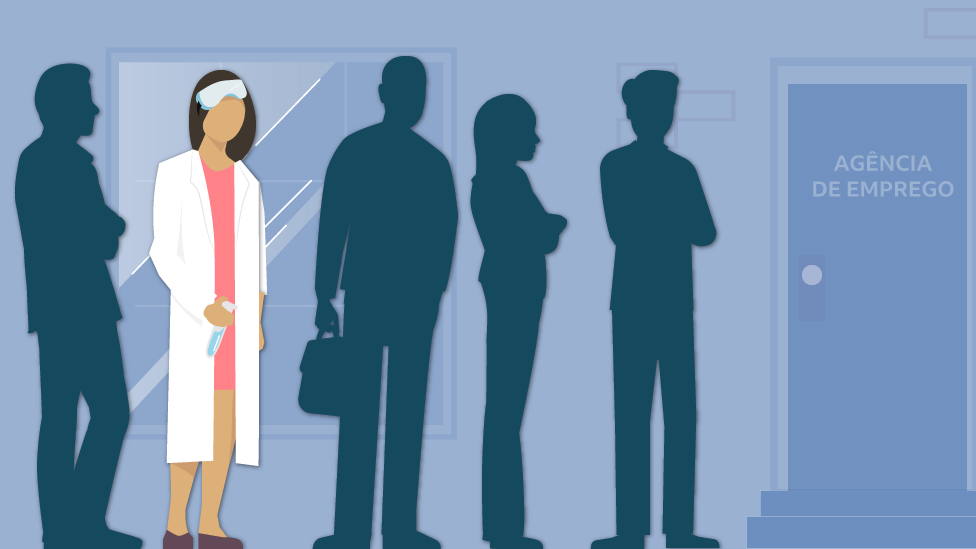 Ilustração mostrando cientista na fila de emprego