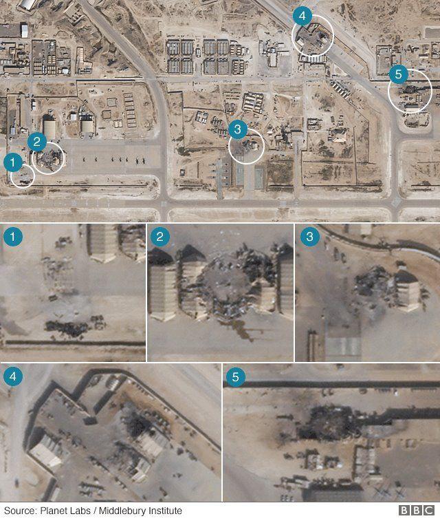 تصاویر ماهواره ای از آثار حمله در پایگاه عین الاسد
