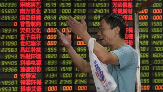 上海の株価ボード