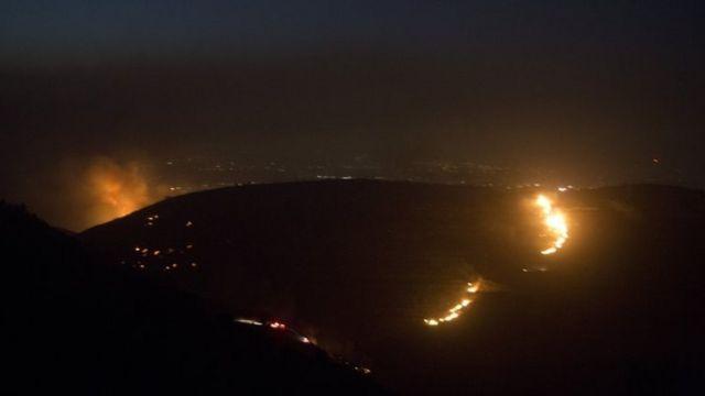 حرائق في مستوطنة نتف بالقرب من القدس