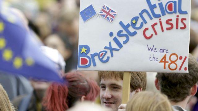 "Один из плакатов на демонстрации против ""брексита"""