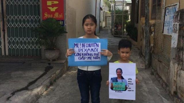 Bé Nấm, Gấu con của nhà hoạt động Nguyễn Ngọc Như Quỳnh sau khi biết mẹ bị chuyển sang trại giam ở Thanh Hóa.
