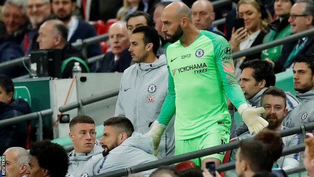 Willy Caballero returns to his seat in the dugout