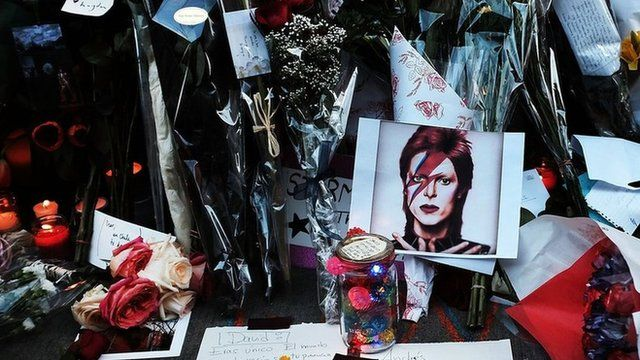 Flowers, candles and pictures outside David Bowie's apartment on January 11, 2016 in New York City.