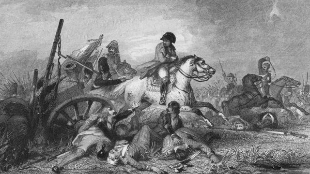 El emperador francés Napoleon Bonaparte, huyendo después de ser derrotado en la batalla de Waterloo, en junio de 1815.