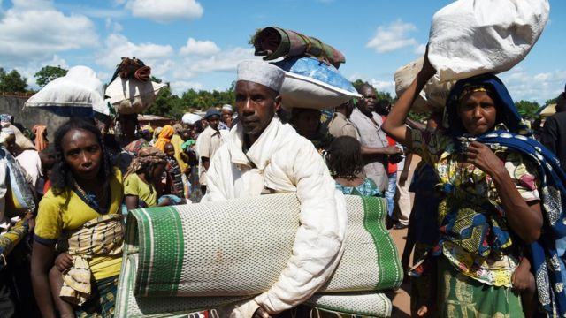 Des populations fuient les rebelles Balaka à Yaloké en 2014 (illustration)