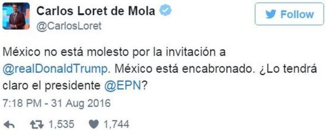 Твит Карлоса Лорета де Молы