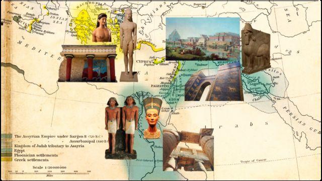 Un mapa del Mediterráneo y Medio Oriente con muestras del arte de las diferentes culturas que habitaron esas regiones