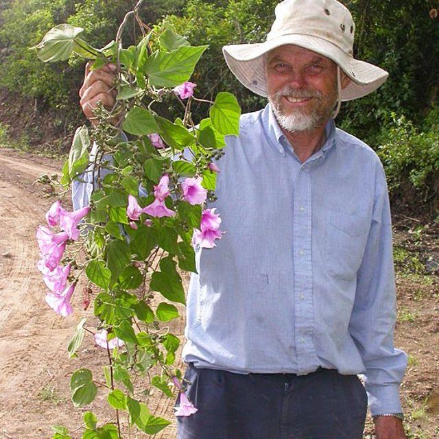 John Wood con un ejemplar de Ipomoea oranensis