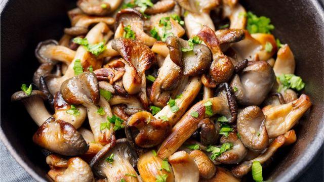 Fried mushrooms in a pan