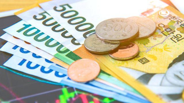 Monedas y billetes Corea del Sur.