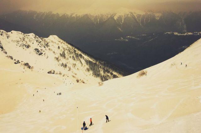 Orange snow in the Caucasus mountains