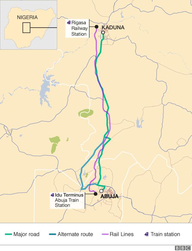 Map of routes between Abuja and Kaduna