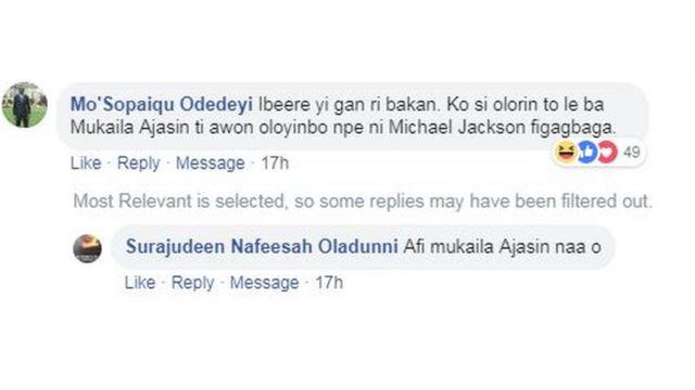 Aworan esi lati oju opo Facebook