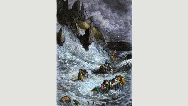 Una escena de Sinbad, el marino. Ilustración de un libro