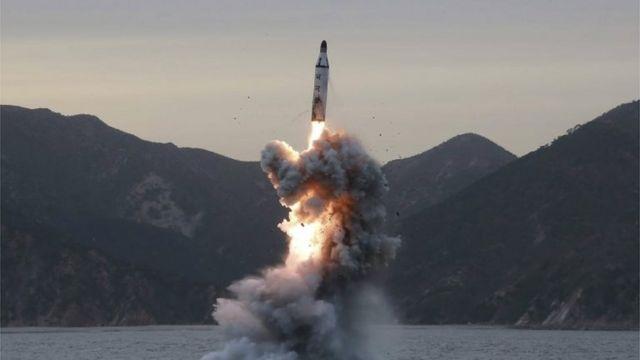 North Korean media image of missile launch (April 2017)