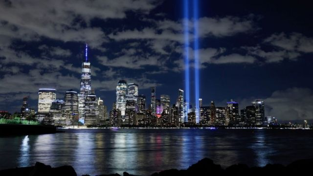 Tribute to the victims of the Twin Towers attack in New York in 2020.