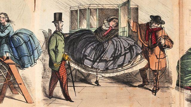 Ilustração de mulher usando uma saia larga com crinolina