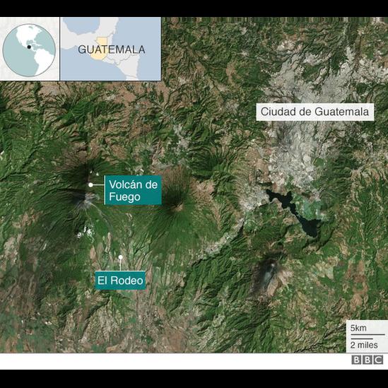 Mapa de Guatemala con la ubicación del Volcán de Fuego
