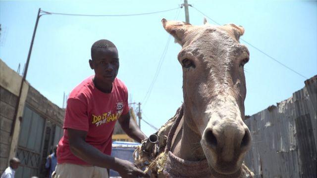 Anthony Maupe Wanyama with his rented donkey