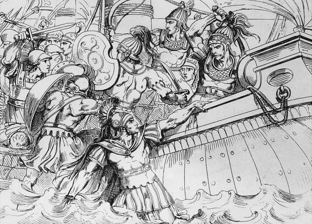 Soldados griegos persiguiendo a los persas hasta sus barcos tras ganar la batalla.