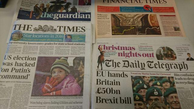 周五(12月16日)英國報紙