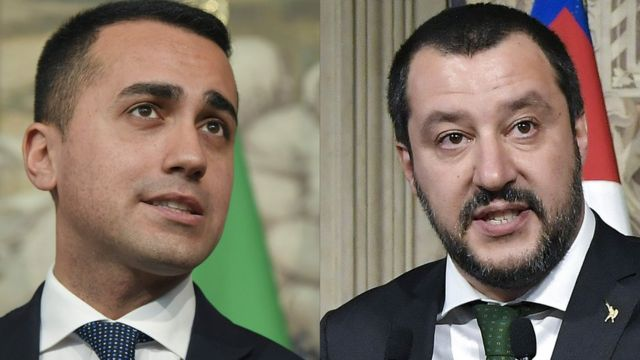 実権を握ることを狙う五つ星運動のルイジ・ディ・マイオ党首(左)と同盟のマッテオ・サルビーニ書記長