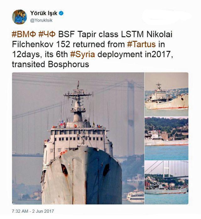 Un tuit de @YorukIsik sobre un barco de guerra de Rusia.