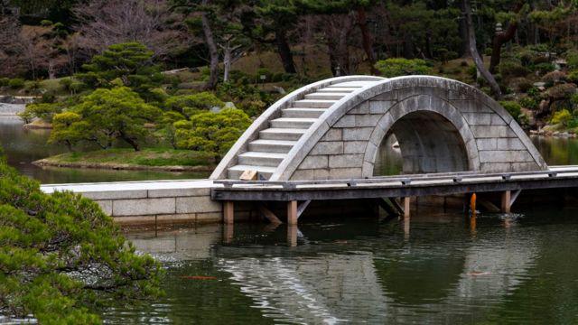 Puente en el jardín Shukkeien