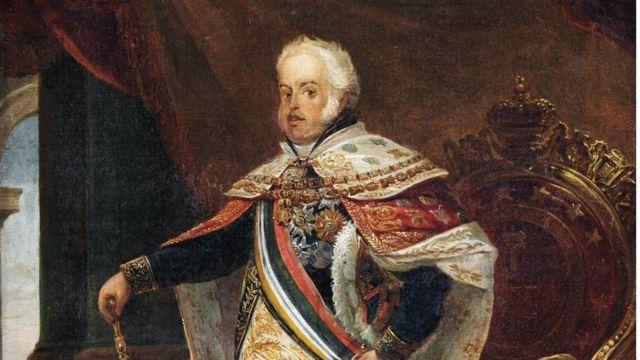 D. João 6º nos trajes de sua aclamação, pintura do francês Jean-Baptiste Debret