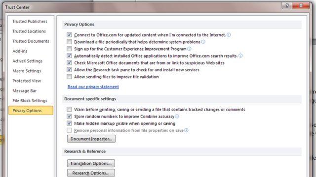 Página de opciones de privacidad en Word