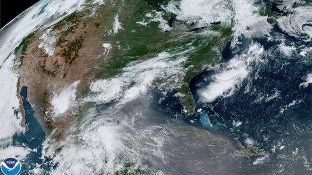 La nube de polvo vista por un satélite