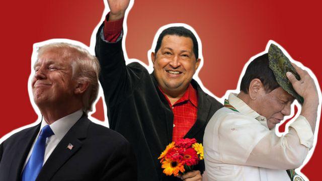 Donald Trump, Hugo Chávez y Rodrigo Duterte (de izquierda a derecha).