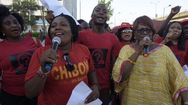 Members of Bring Back Our Girls movement in Lagos during rally for the release of missing girls. 13 April 2016