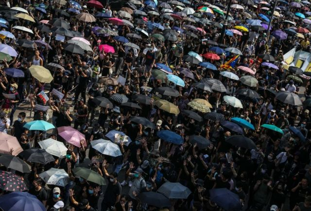 Proesters with umbrellas in Hong Kong