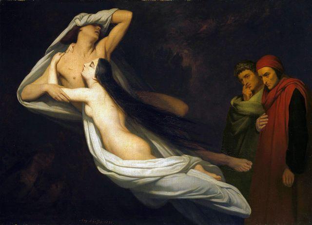 Paolo y Francesca, 1854. Artista: Ary Scheffer (1795-1858).
