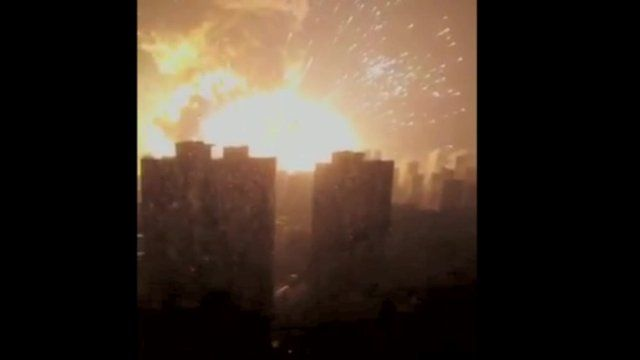Explosion in front of building