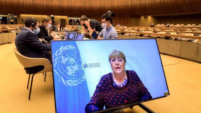 BM İnsan Hakları Yüksek Komiseri Michelle Bachelet, çevrimiçi oturumda konuşmasını yaptı.